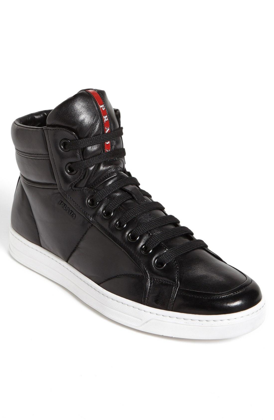 Prada Avenue High Top Sneaker in Black for Men (Black/ White) | Lyst