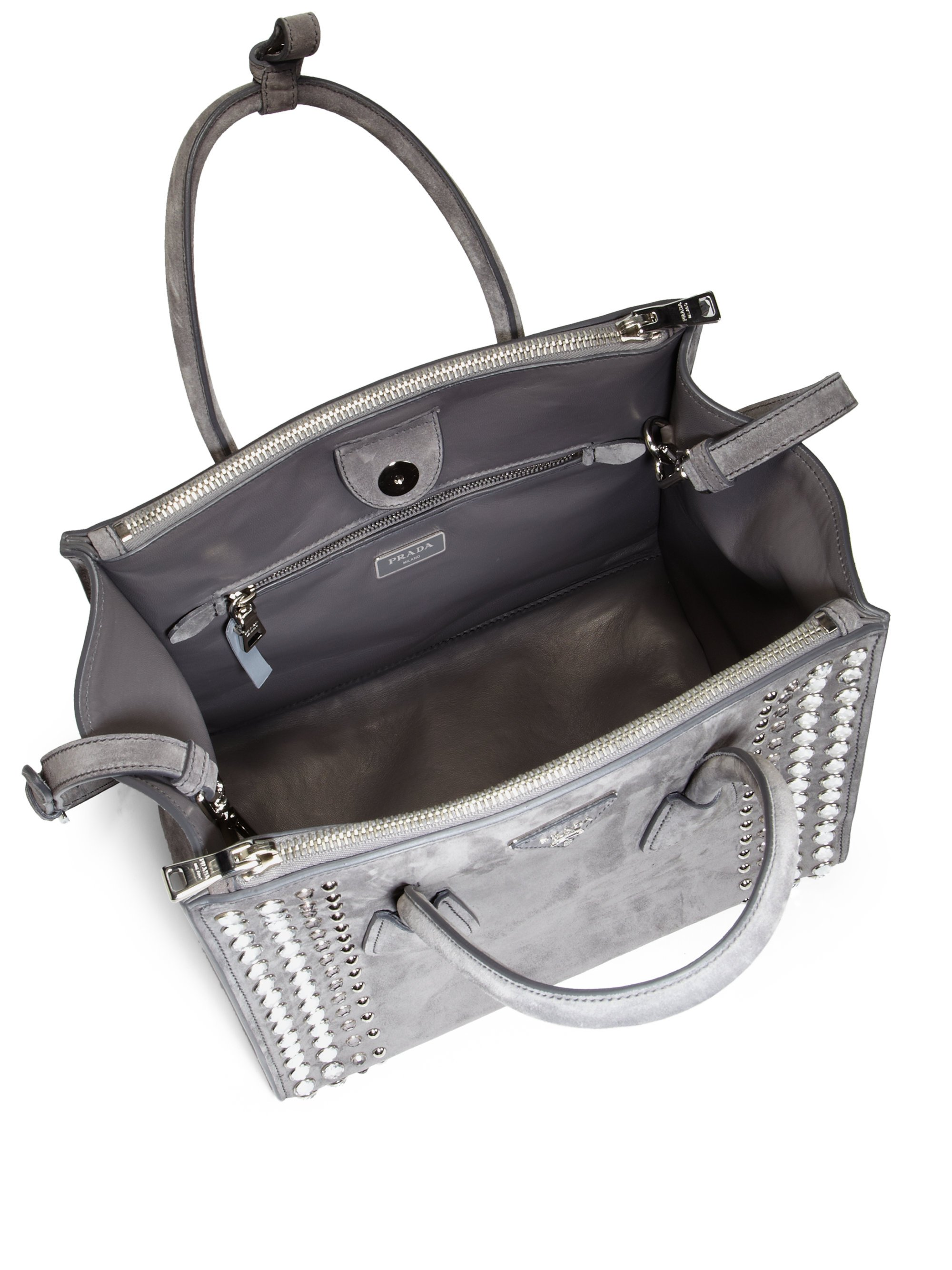 Prada Studded Suede Twin Pocket Tote in Gray (MARMO-GREY) | Lyst