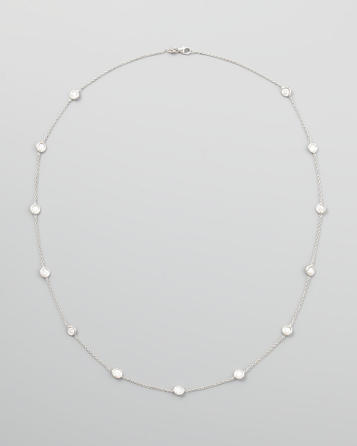 Roberto Coin 24 Quot White Gold Diamond Station Necklace In