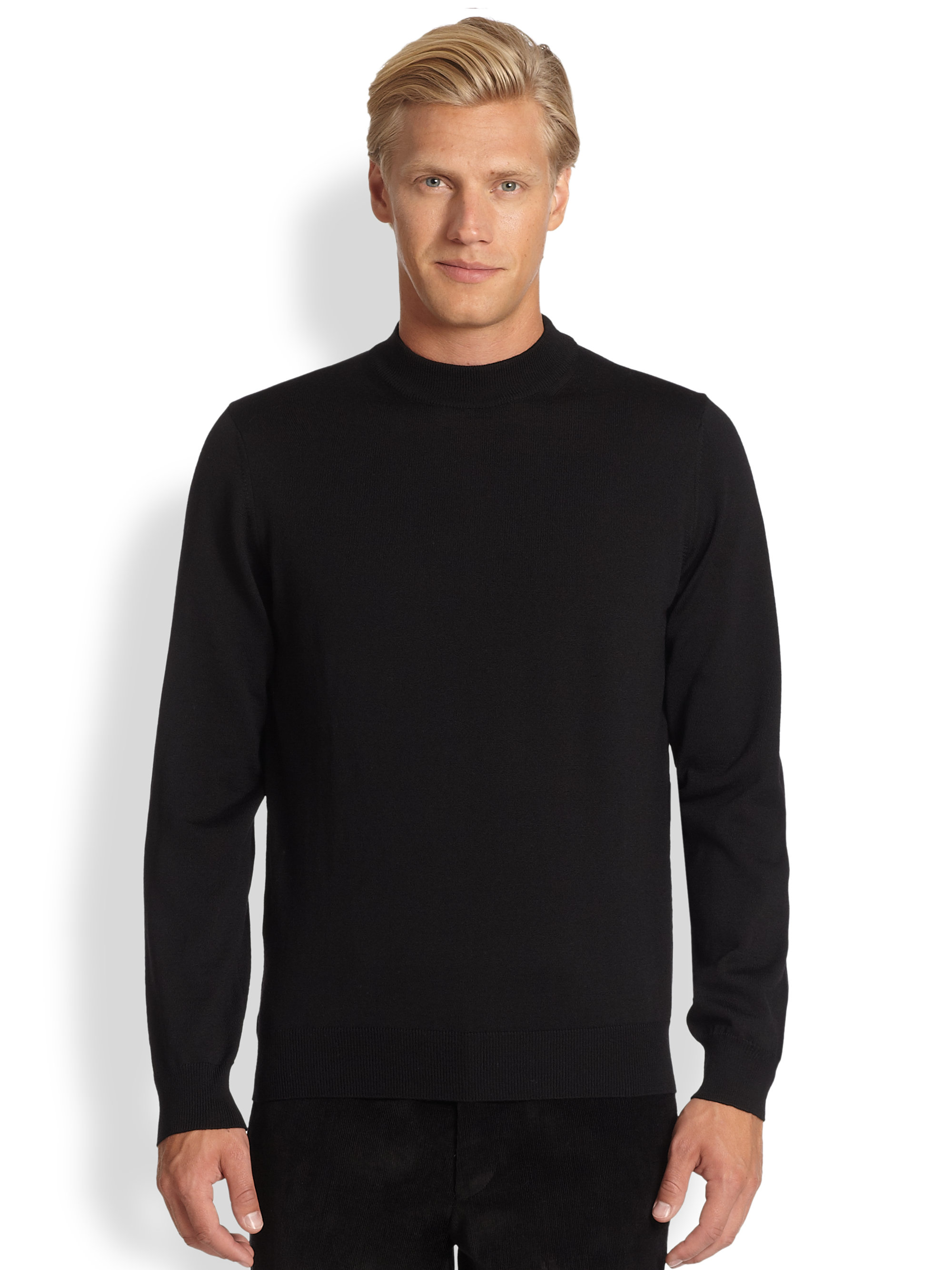 Saks fifth avenue black label Wool Mock Turtleneck Sweater in ...