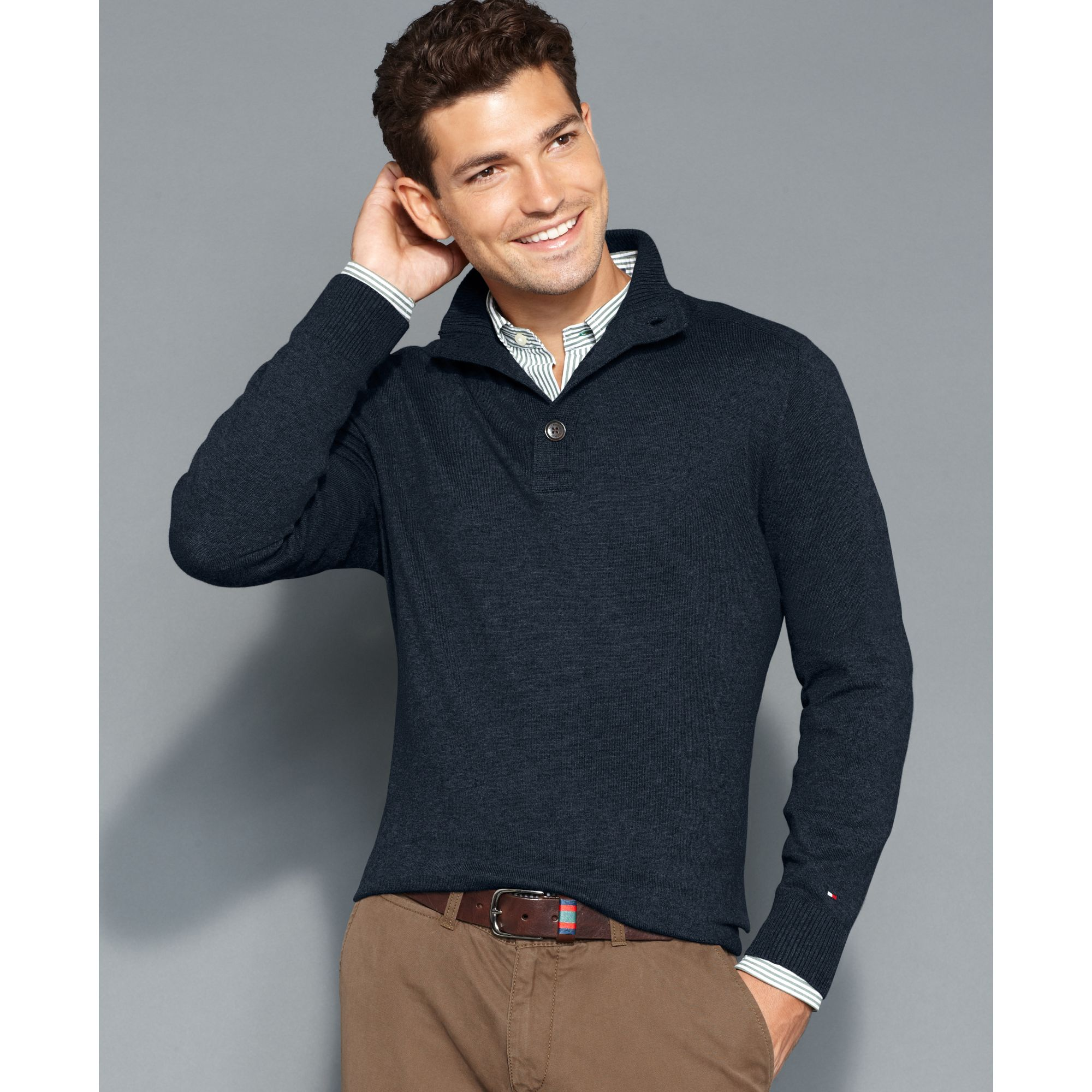 Tommy hilfiger American Half Button Sweater in Blue for Men | Lyst