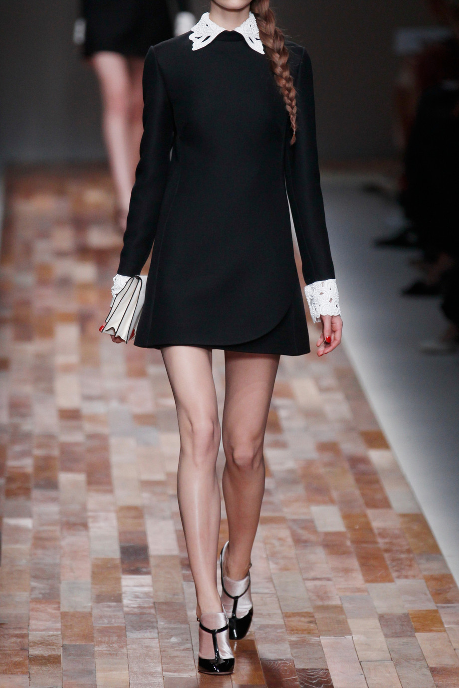 Valentino Leather Trimmed Wool Blend Dress In Black Lyst