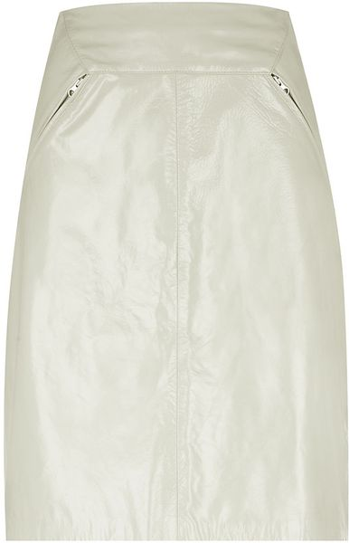 whistles patent leather skirt in white ivory lyst