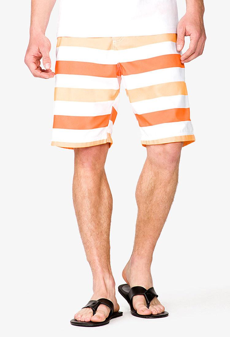 0c65748b2c Forever 21 Block Stripe Swim Trunks for Men - Lyst