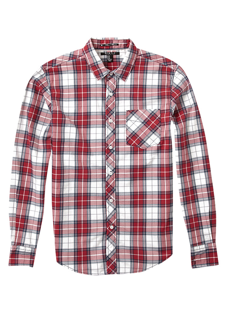 forever 21 classic fit plaid shirt in red for men lyst