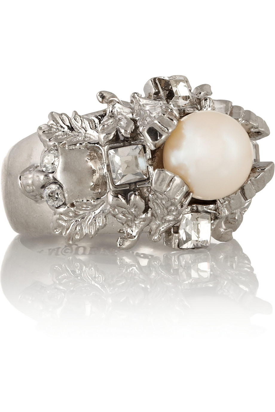 9a9effc7a3a52 Alexander McQueen Metallic Silver Plated Swarovski Crystal and Faux Pearl  Ring