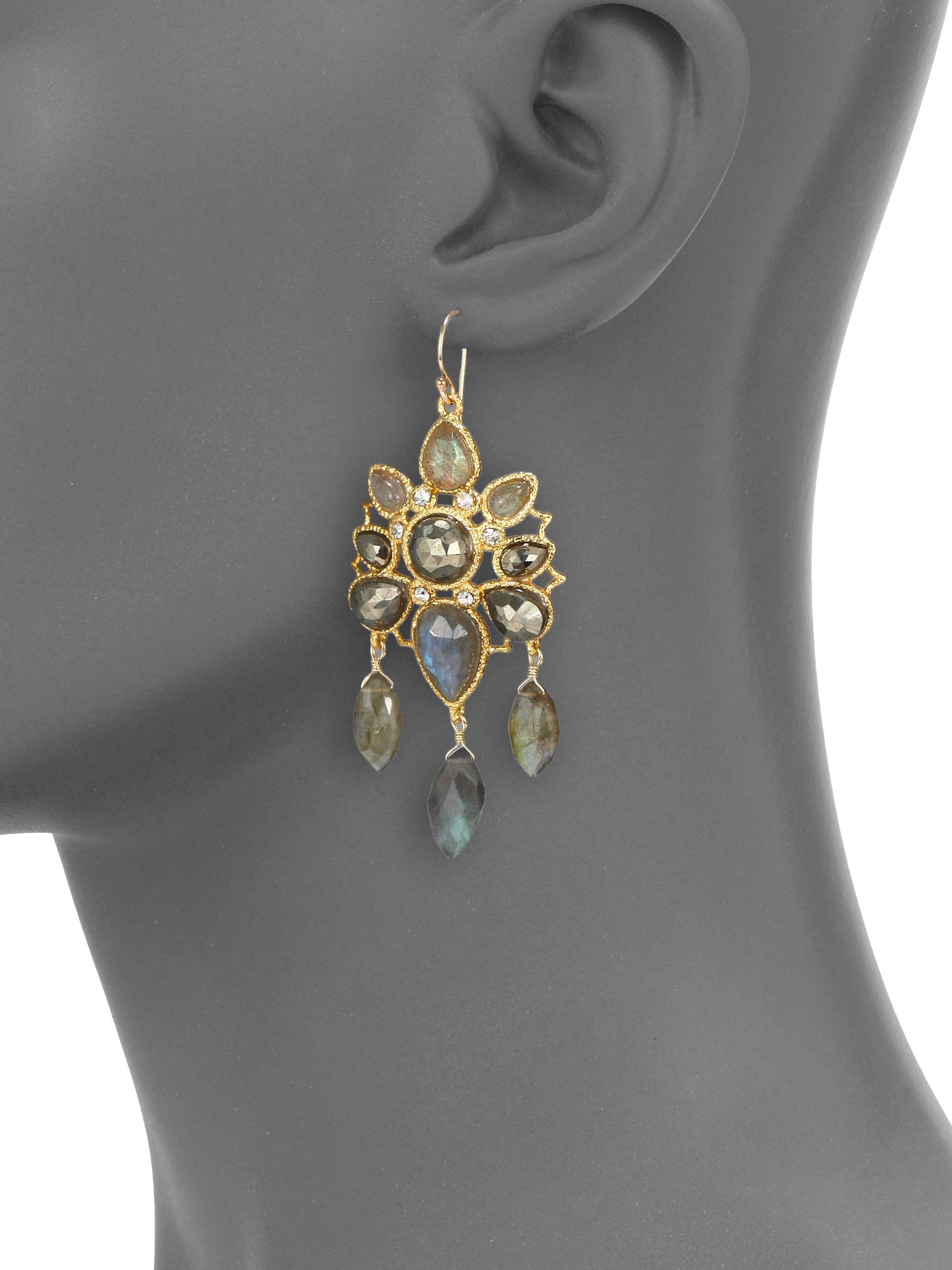 Alexis bittar Semiprecious Jeweled Chandelier Earrings in Metallic ...