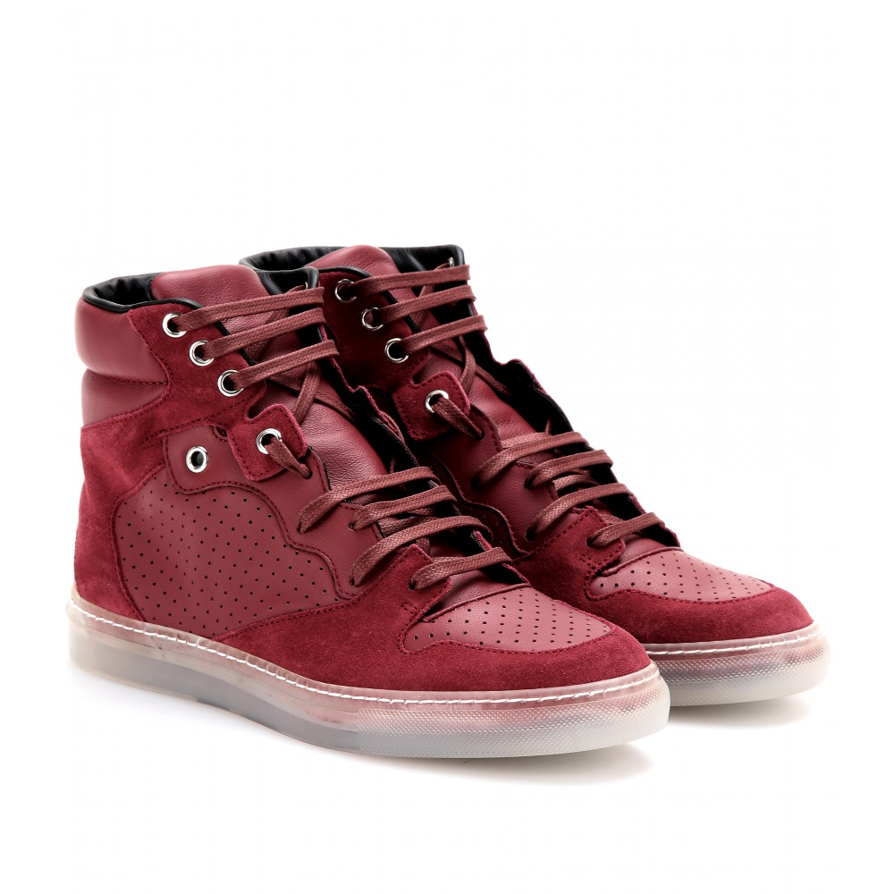 Balenciaga Leather and Suede Hightop Sneakers in Red | Lyst