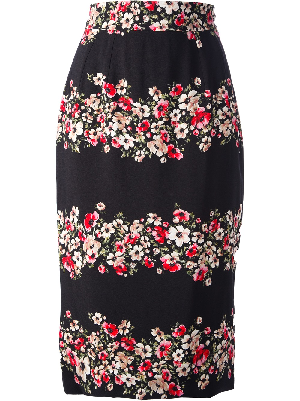 River Island Black Floral Pencil Skirt