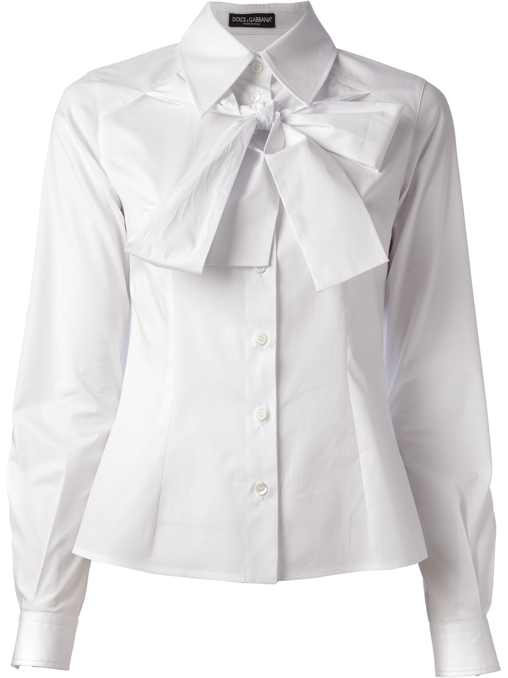 Dolce Amp Gabbana Pussy Bow Shirt In White Lyst