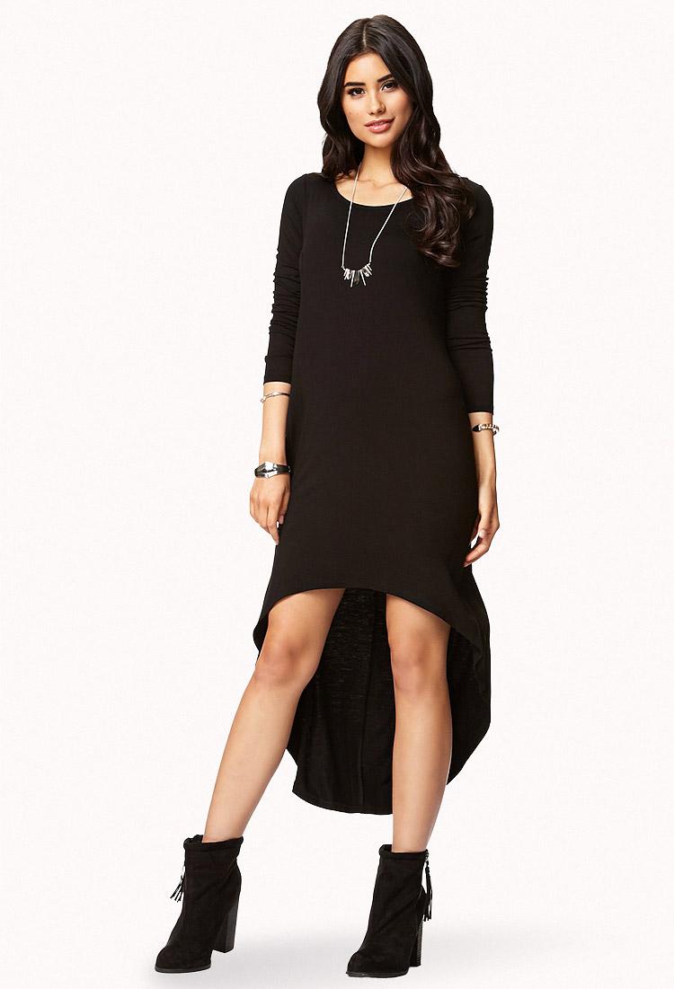 Lyst - Forever 21 Long Sleeve Highlow Dress in Black b5bb5cd82f