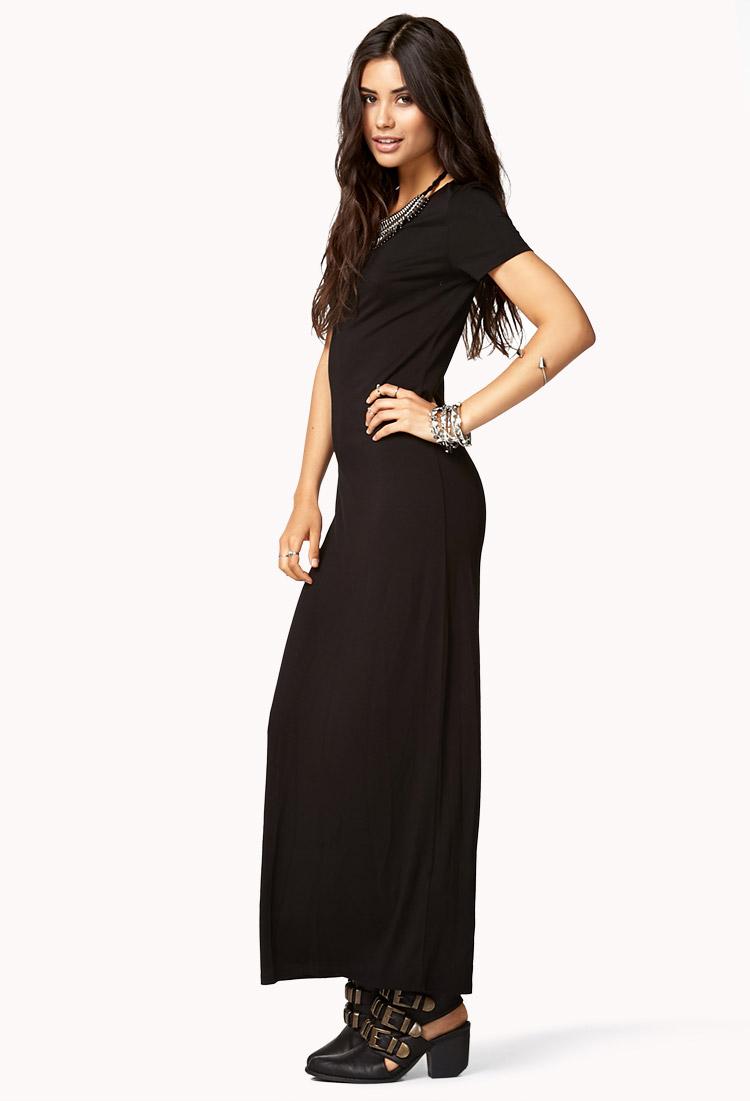 57349b5124b Forever 21 Short Sleeve Maxi Dress in Black - Lyst