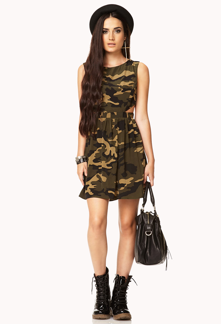 Forever 21 Cutout Camo Dress In Black Olive Gray Lyst