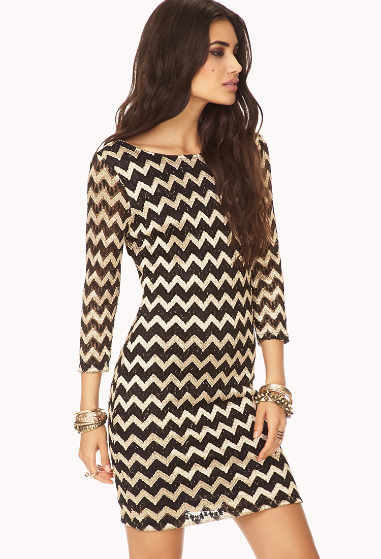Forever 21 Metallic Zigzag Bodycon Dress In Black Taupe