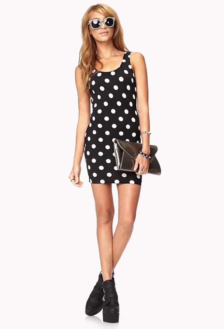 Forever 21 Sweet Polka Dot Bodycon Dress In Black White