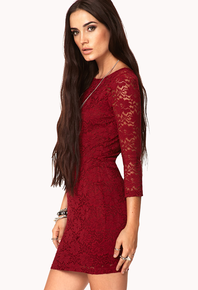Forever 21 Floral Lace Bodycon Dress In Burgundy Purple