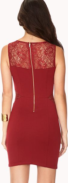 Forever 21 Lace Trim Bodycon Dress In Red Burgundy