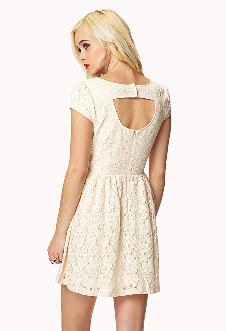 Lyst Forever 21 Cutout Back Lace Dress In Natural