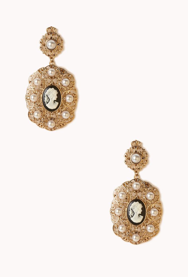 Forever 21 cameo filigree dangle earrings in gold cream for Forever 21 jewelry earrings