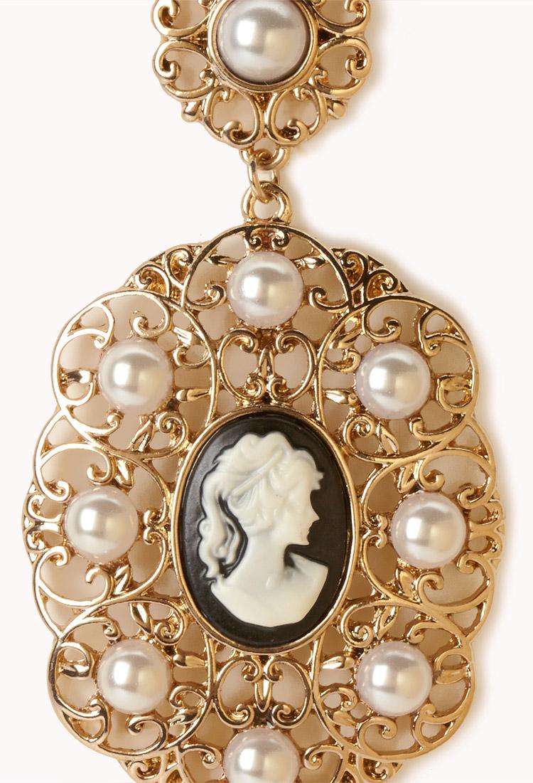 Forever 21 cameo filigree dangle earrings in metallic lyst for Forever 21 jewelry earrings