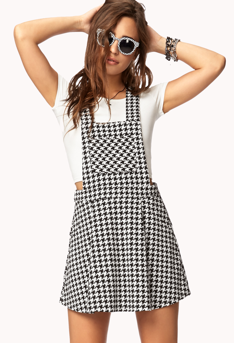 4b5f987b6bf12 Forever 21 Houndstooth Overall Dress in Natural - Lyst