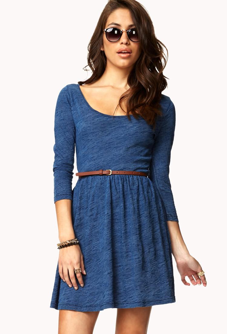 Lyst Forever 21 Denim Inspired Fit Flare Dress W Belt In