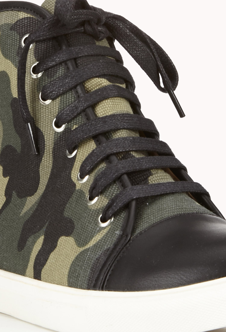 Forever 21 Camo Wedge Sneakers In Green Lyst