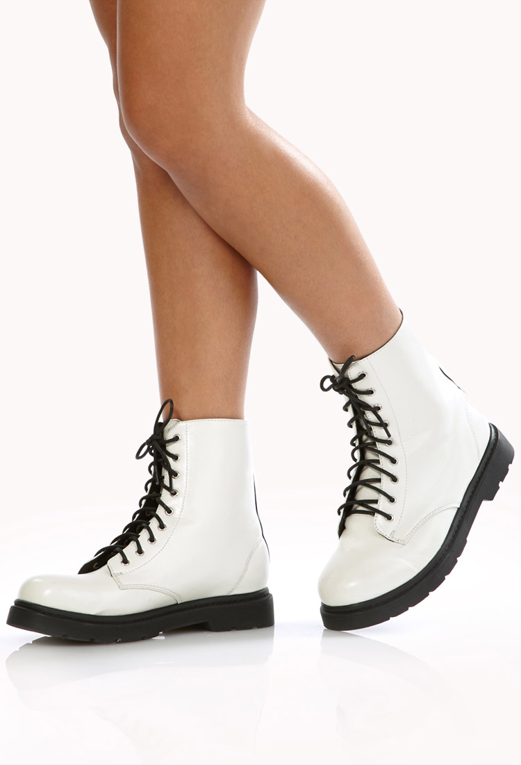 Forever 21 Sleek Combat Boots in White