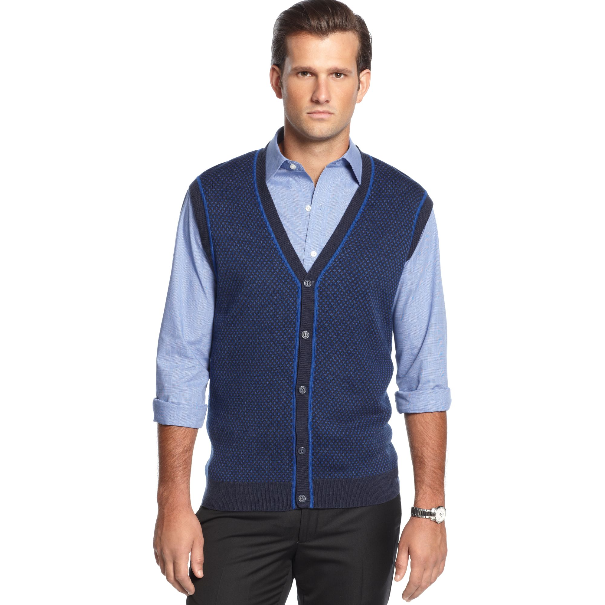 Lyst Geoffrey Beene Button Front Vneck Birdseye Sweater Vest In