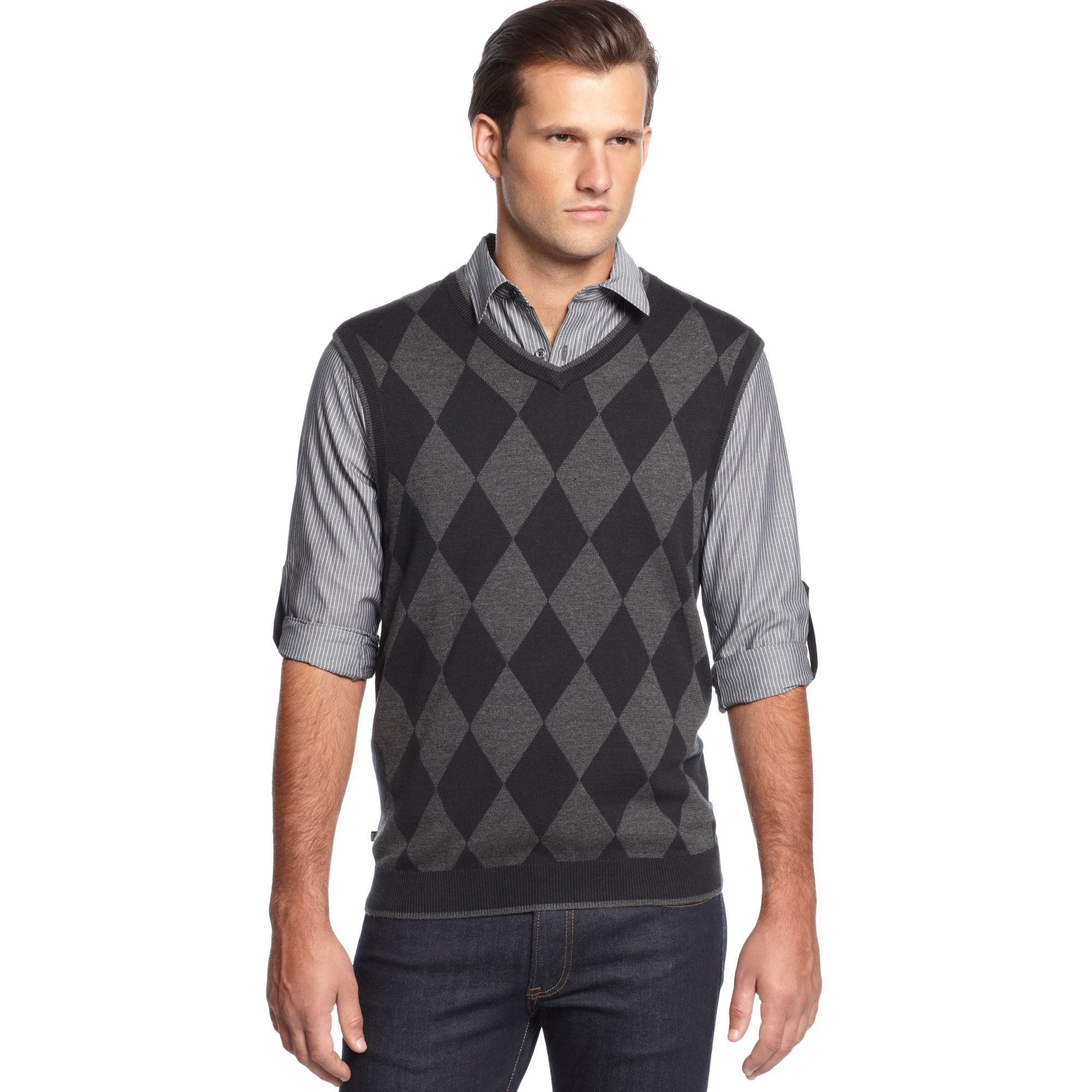 Geoffrey beene Argyle V Neck Sweater Vest in Black for Men | Lyst