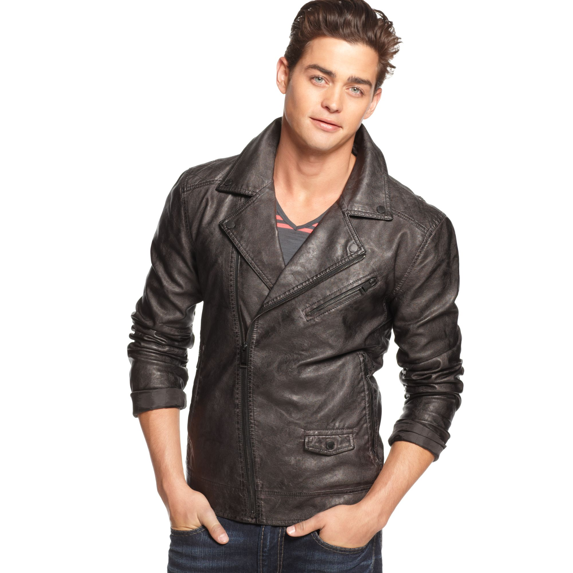 Lyst Guess Jacket Faux Leather Moto In Black For Men