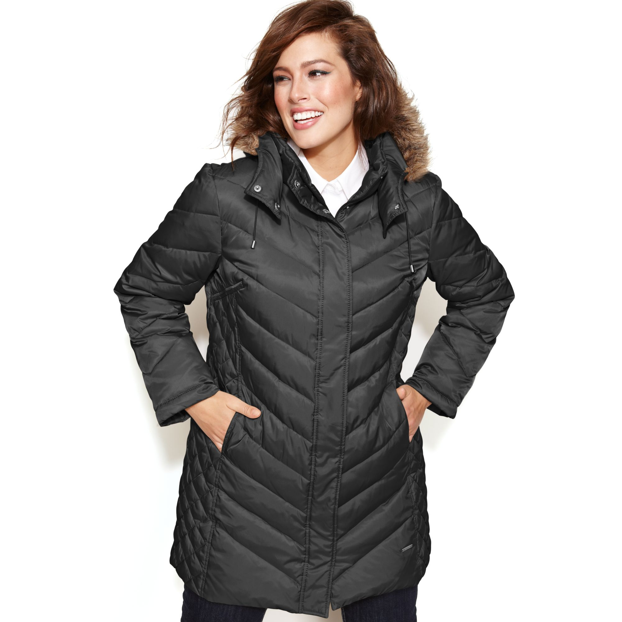 Kenneth Cole Reaction Hooded Faux Fur Trim Quilted Puffer