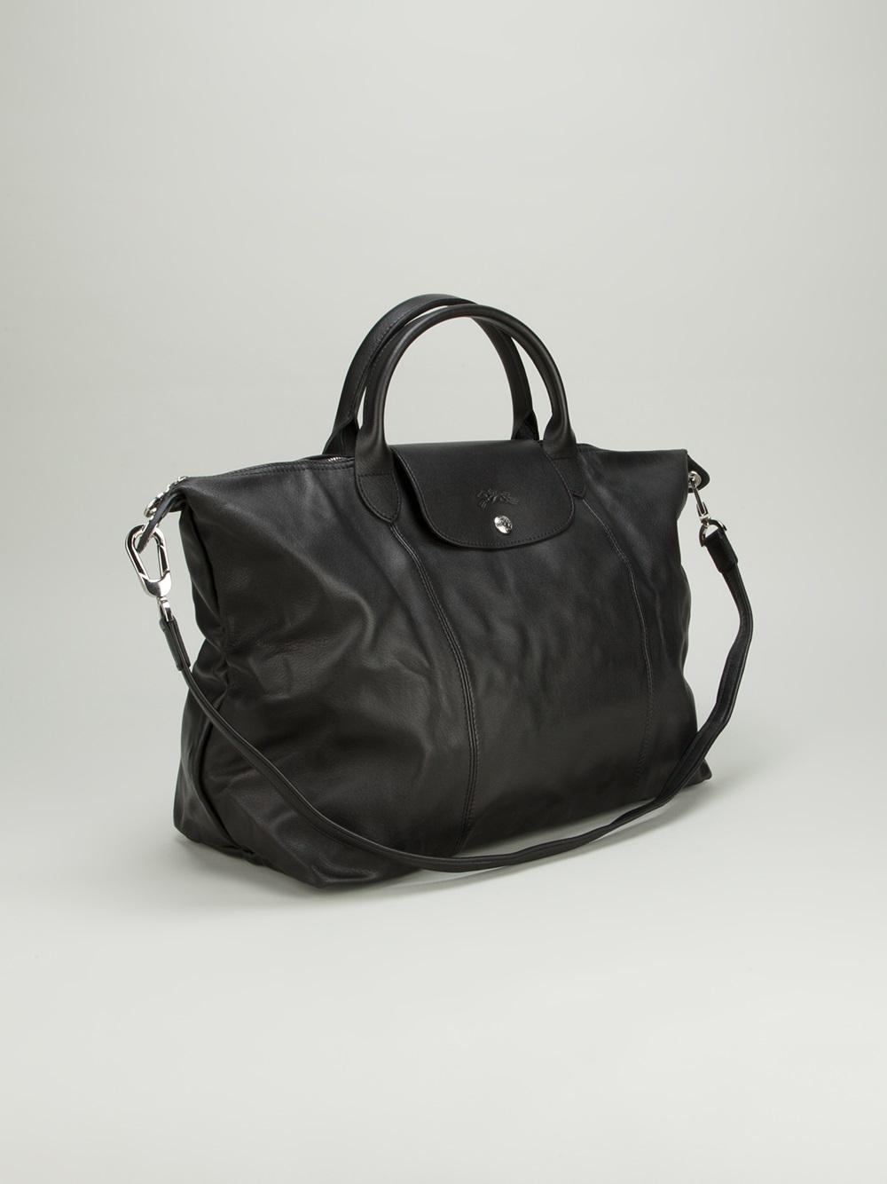 0764a7f49c2 Longchamp Le Pliage Cuir Tote in Black - Lyst