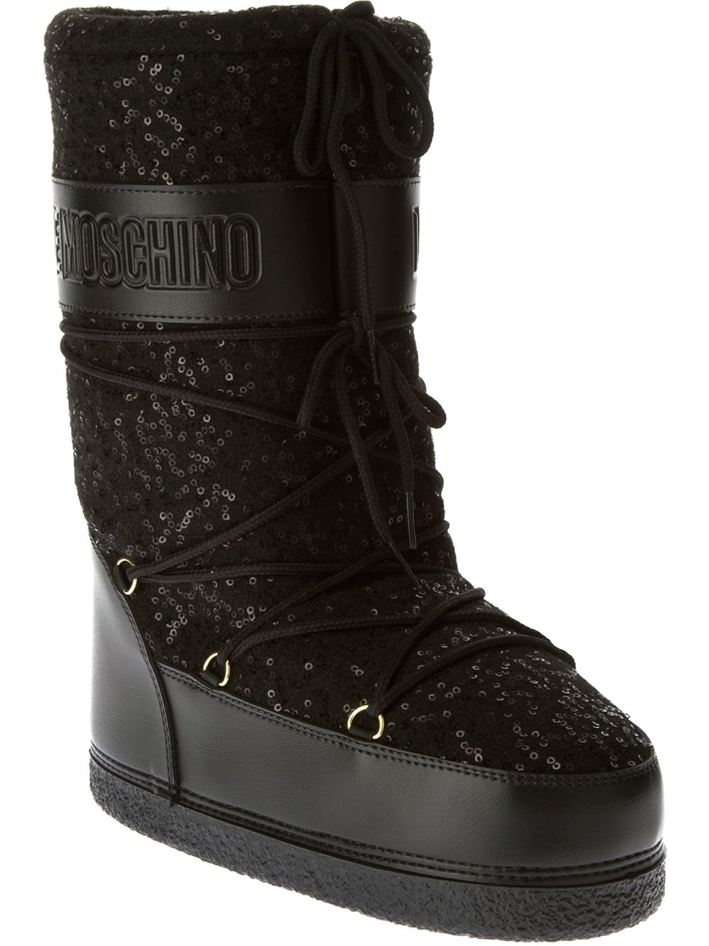 Lyst - Love Moschino Sequined Moon Boot in Black