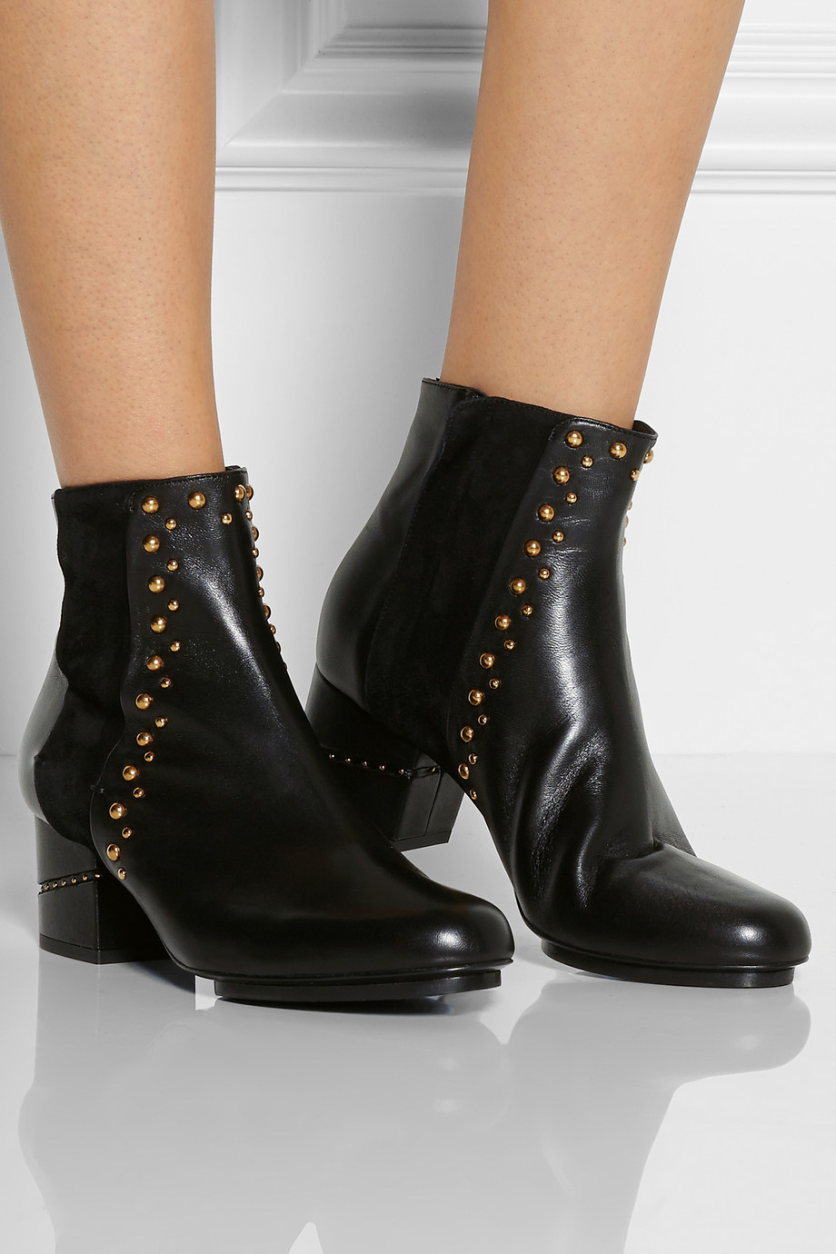 Maiyet Studded Leather Ankle Boots in Black