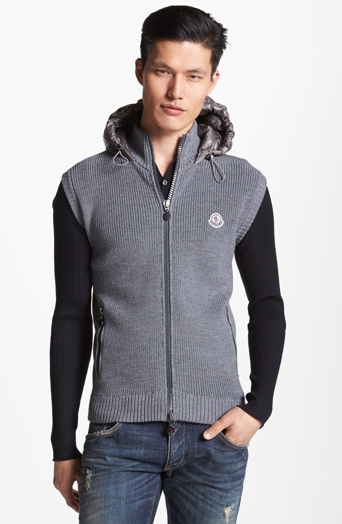 Knitting Pattern Hooded Vest : Moncler Knit Hooded Vest with Quilted Back in Black for ...