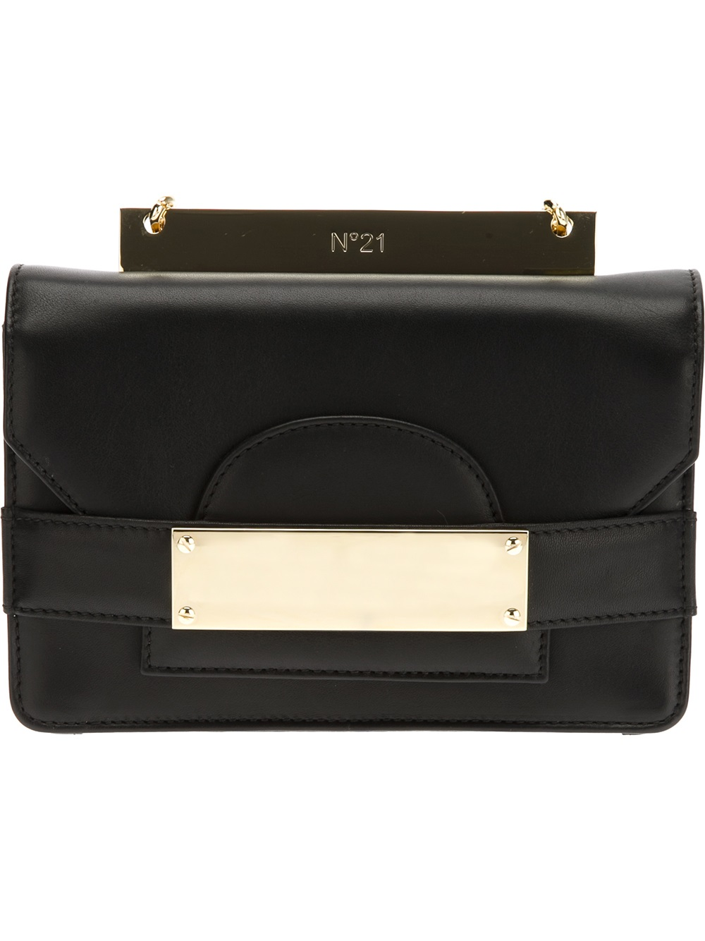 lyst n 21 metal plaque shoulder bag in black. Black Bedroom Furniture Sets. Home Design Ideas