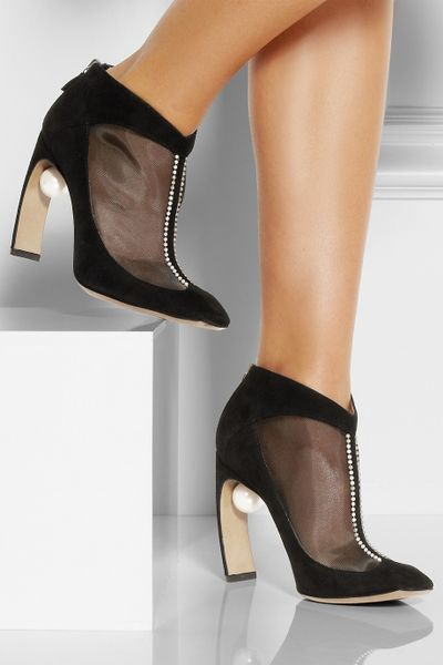 Nicholas Kirkwood Embellished Suede And Mesh Ankle Boots