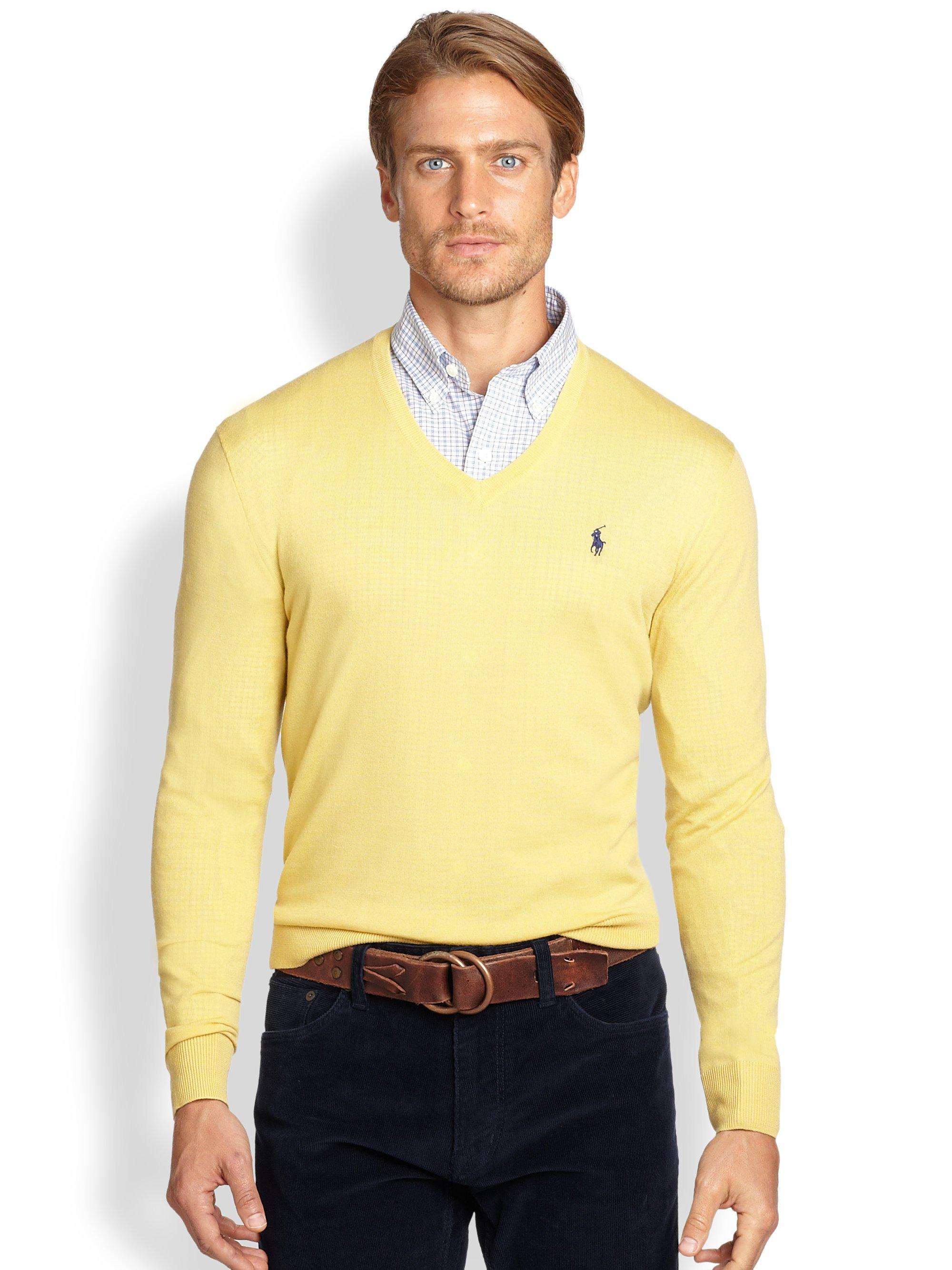 Classic Ralph Lauren Men Yellow Pullover Merino Sweaters .