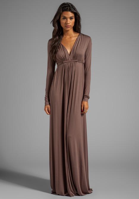 Rachel pally Long Sleeve Full Length Caftan Dress in Brown in ...