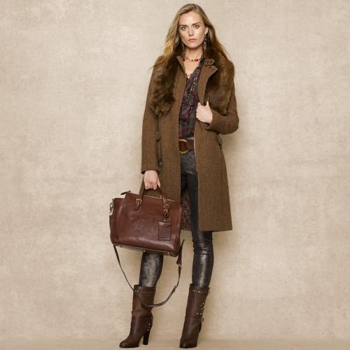 306f0876f5eb Lyst - Ralph Lauren Embossed Rl Crossbody Bag in Brown