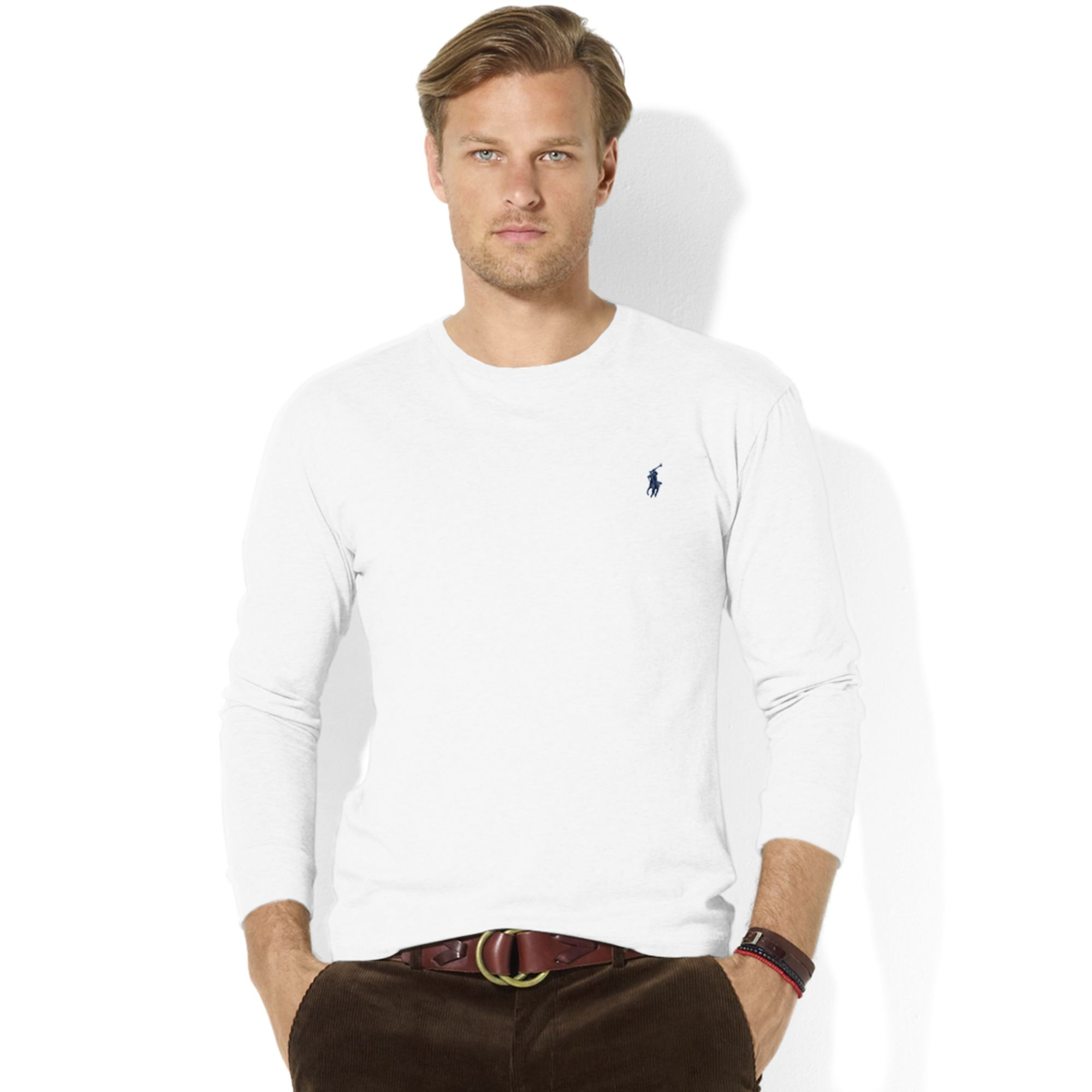7aad2bbd ... real lyst ralph lauren classic fit longsleeve cotton jersey pocket crew  58f8c b65c3