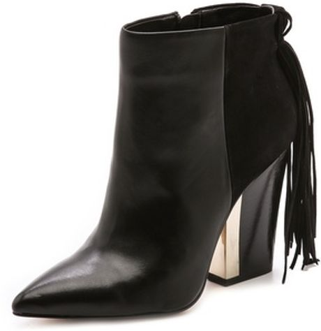 Sam Edelman Mariel Heel Fringe Booties in Black - Lyst