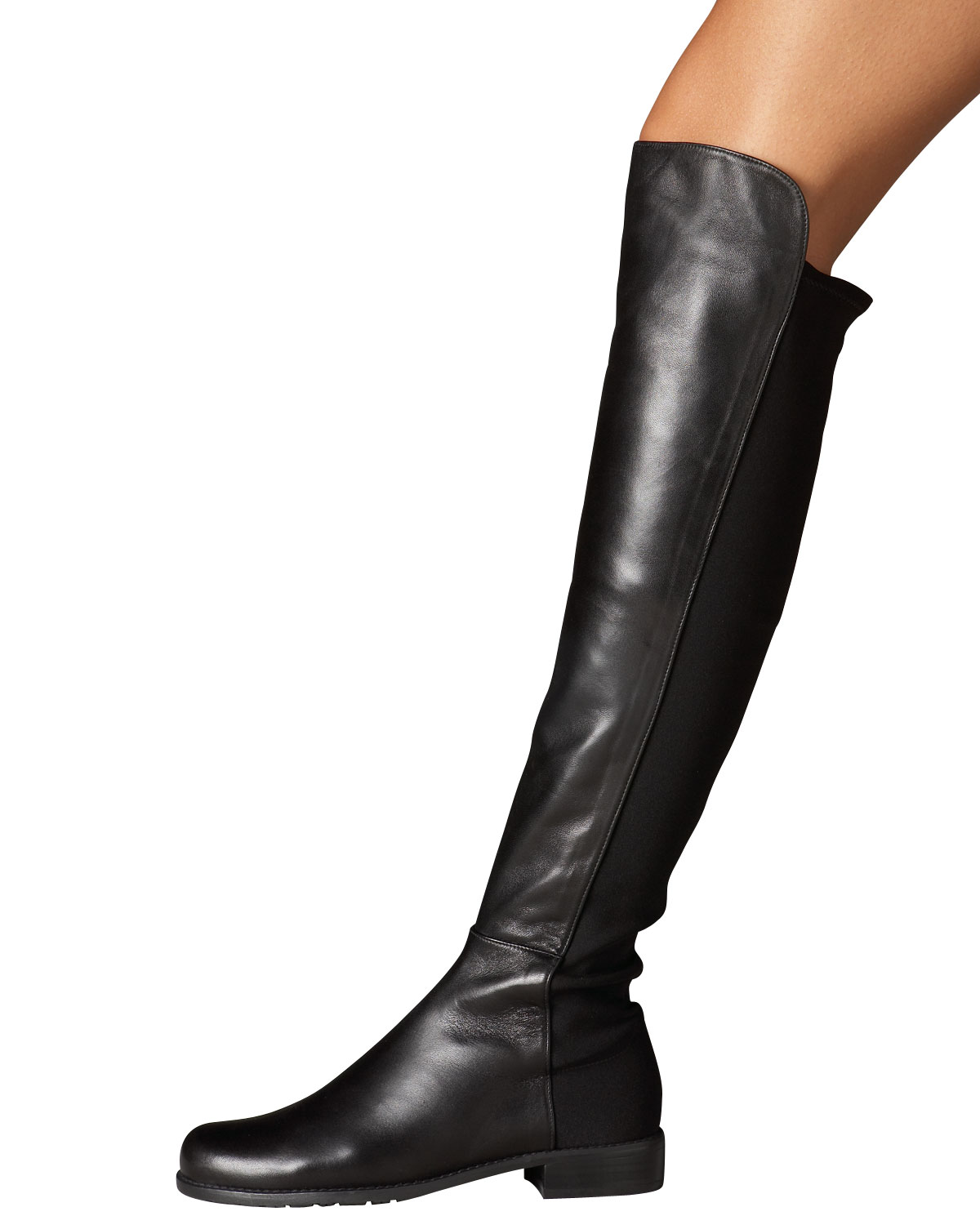 stuart weitzman leather and suede otk boot in black lyst