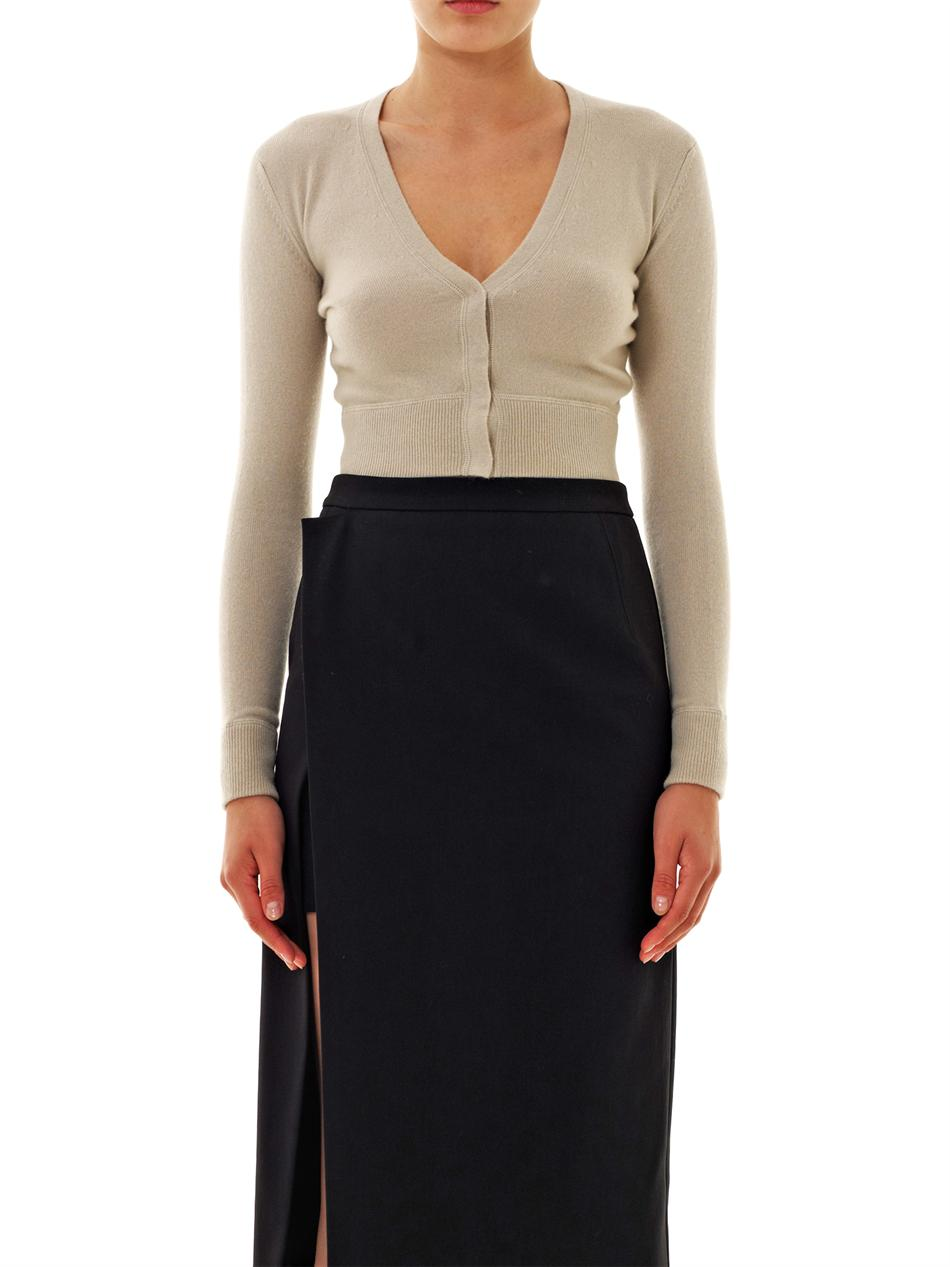 Tomas maier Cropped Cashmere Cardigan in Natural | Lyst