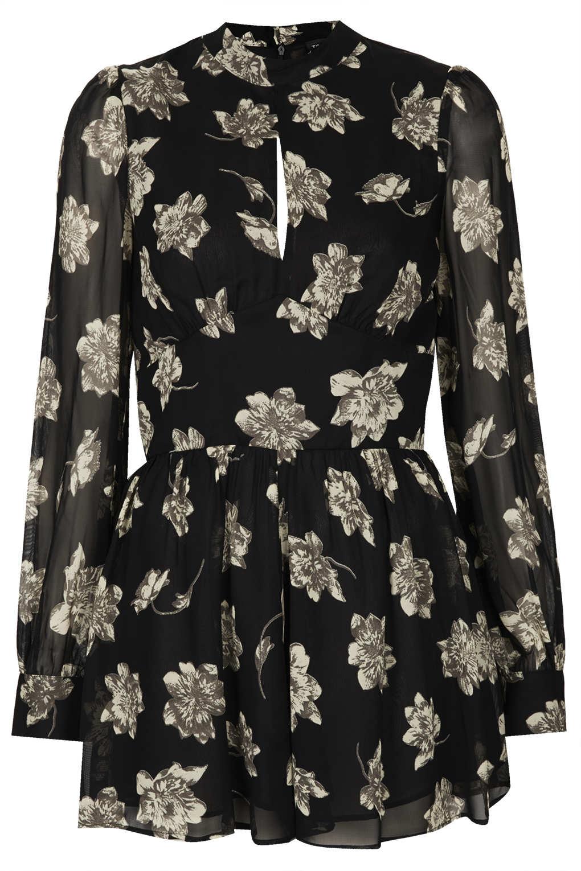 TOPSHOP Ghost Floral Playsuit in Black