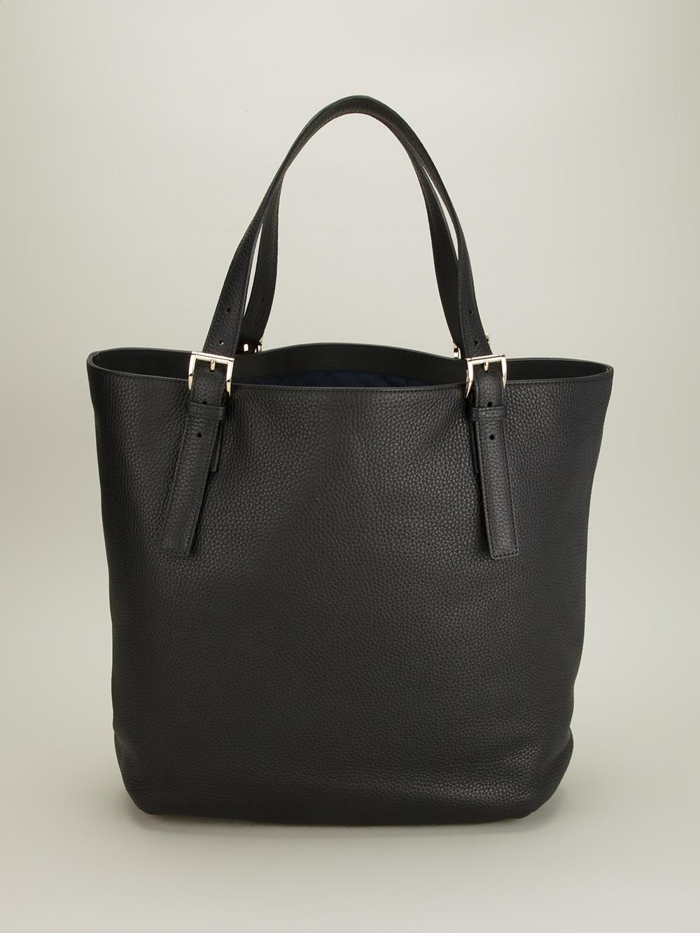 Trussardi Buckle Detail Tote Bag in Black