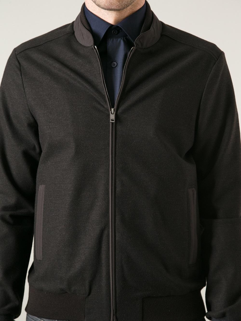 8623c0420 Z Zegna Black Bomber Jacket for men