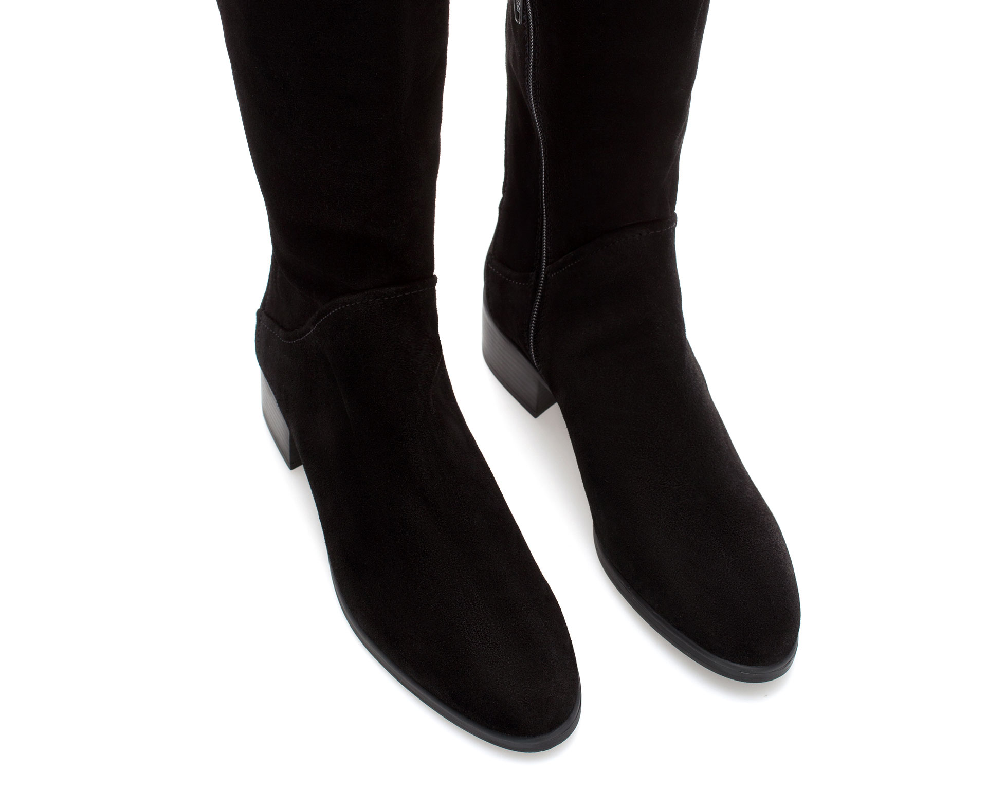 Zara Suede Flat Boot in Black | Lyst