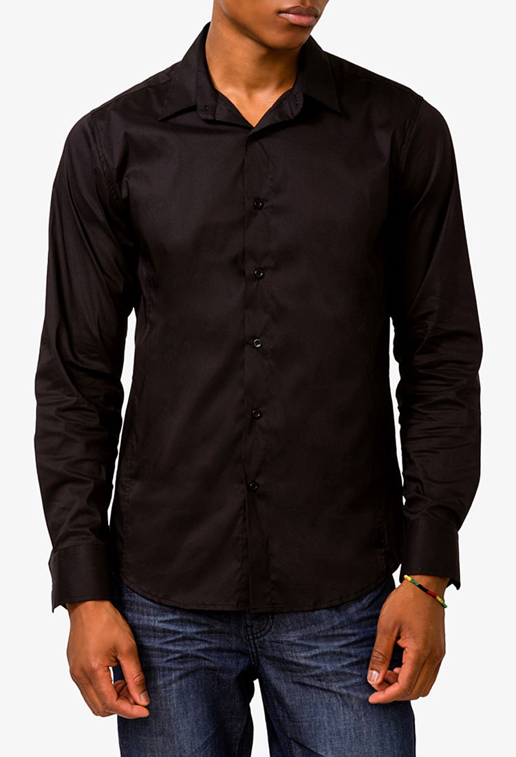 Forever 21 Fitted Dress Shirt in Black for Men | Lyst